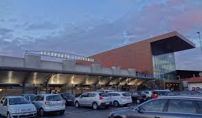 Florence airport terminal building and parking area